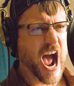 Voice over actor Steve Blum in a studio recording session