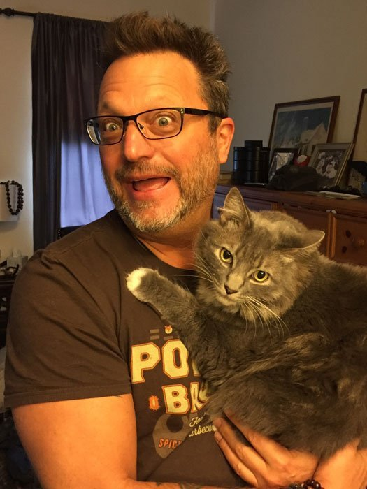 Steve Blum with cat