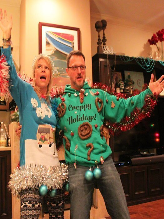 Steve Blum and Mary Elizabeth McGlynn in ugly christmas sweaters