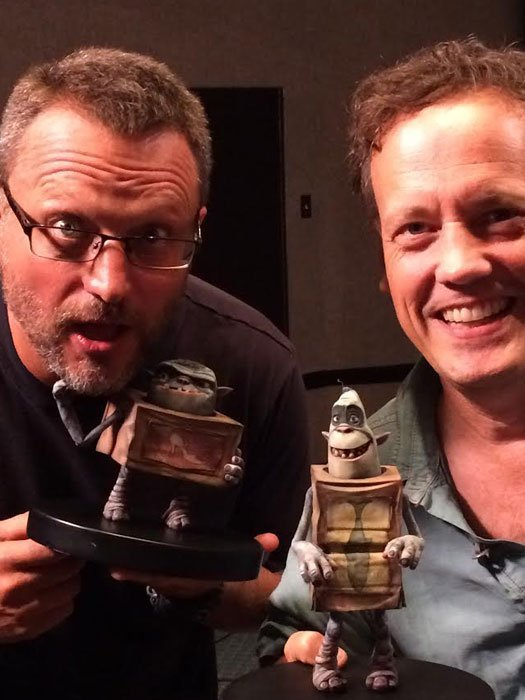 Steve Blum and Dee Bradley Baker with Boxtrolls character models at Laika
