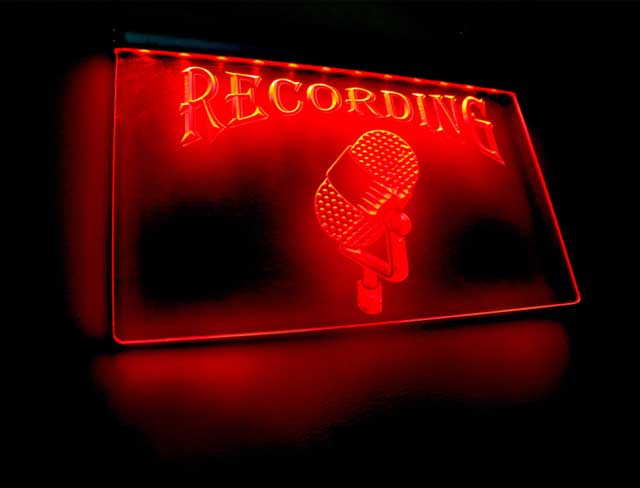 "Voiceover Studio ""Recording"" sign"