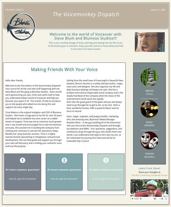 Thumbnail of our newsletter, the Voicemonkey Dispatch
