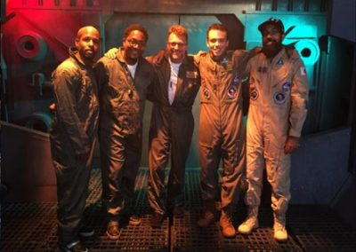 Logic and crew on the Aquarius III set