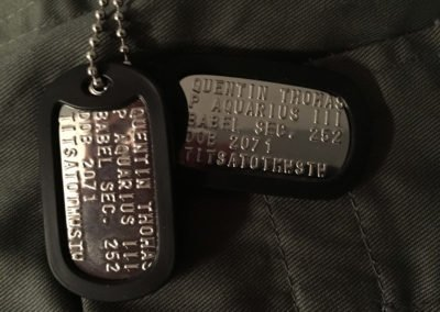 Quentin Thomas's Dog Tags Close Up
