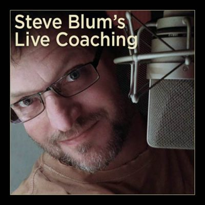 Steve Blum Live Coaching Series- Steve looking from behind the mic