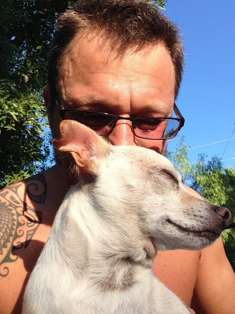 Steve Blum meditating with his dog Piddle