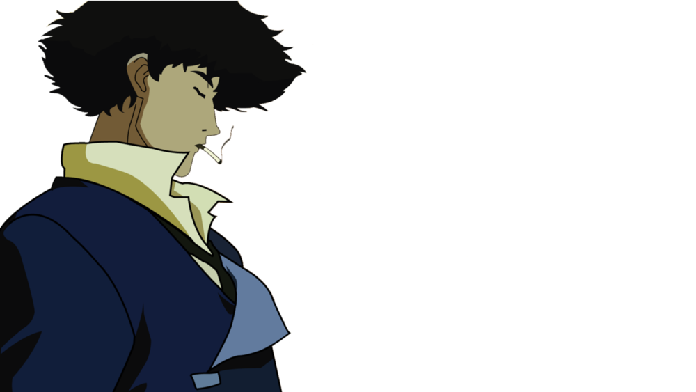 Animated Character Spike Spiegel from Cowboy Bebop smoking cigarette and looking down to the right of image
