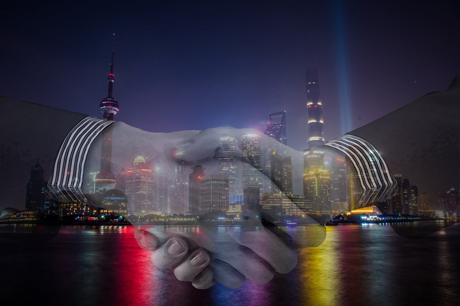 Respect- Handshake with Evening City Background