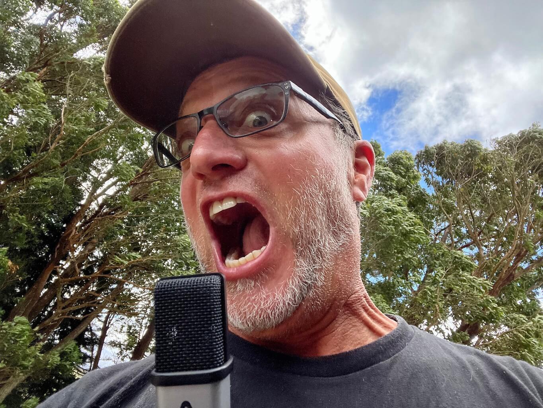 Location image_Steve Blum yelling into mic outside